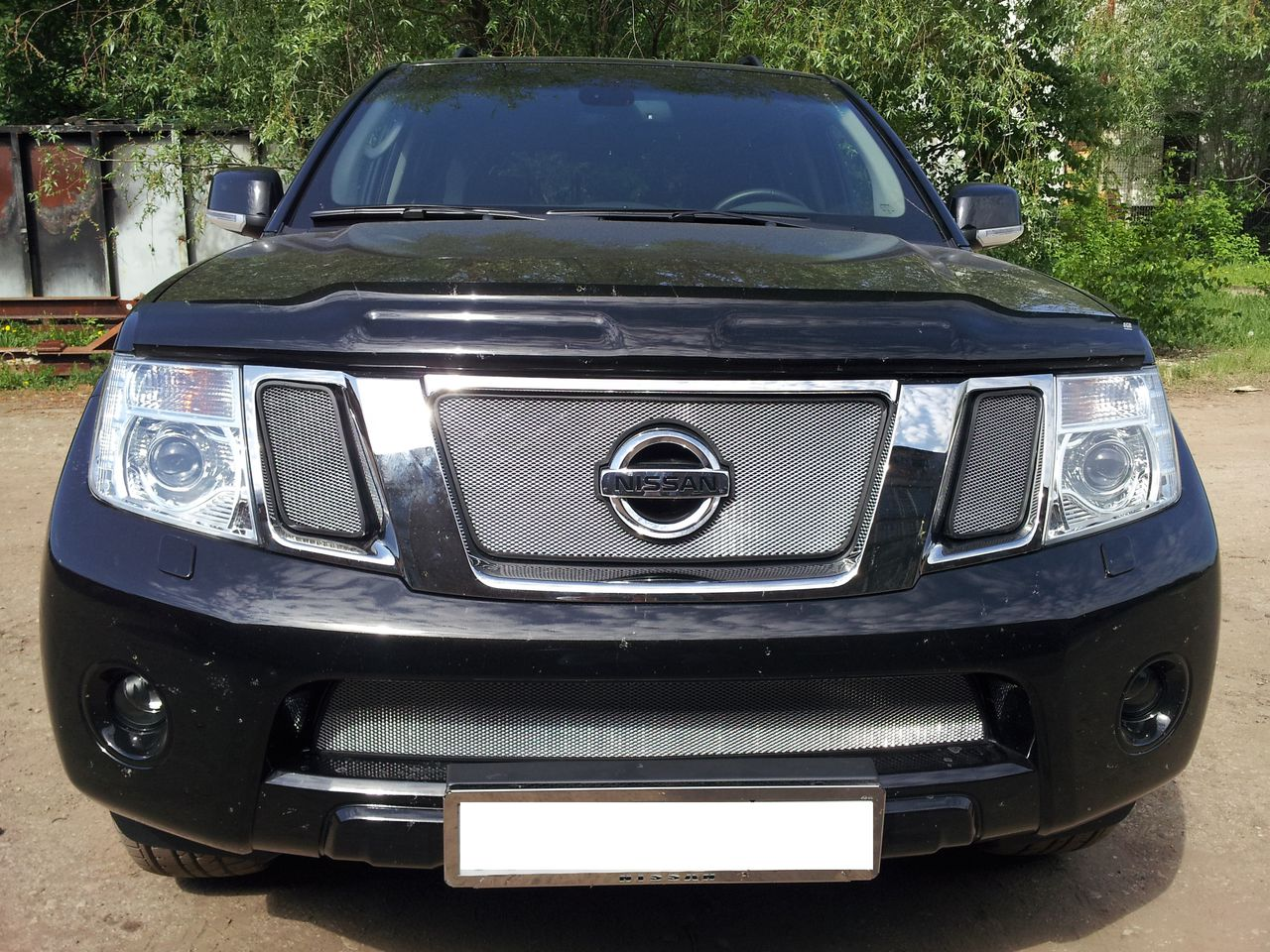 Защита радиатора Nissan Pathfinder (NAVARA) 2011- chrome низ